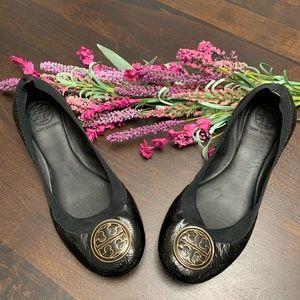 Tory Burch Black Leather Caroline Flats 8
